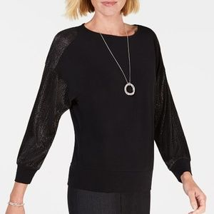 JM Collection Pleated-Sleeve  Top